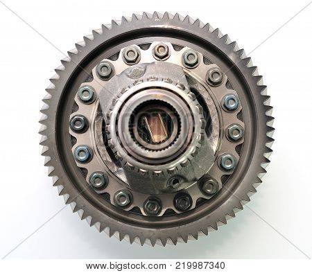 Car gearbox differential isolated on white background.