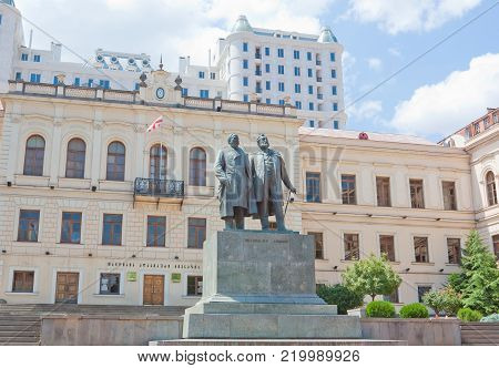 TBILISI, GEORGIA - AUGUST 7, 2013: Monument Akaki Tsereteli and Ilia Chavchavadze in Tbilisi. The Republic Of Georgia