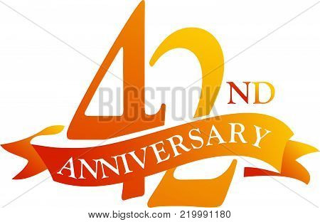 42 Year Ribbon Anniversary Logo Design Template Vector