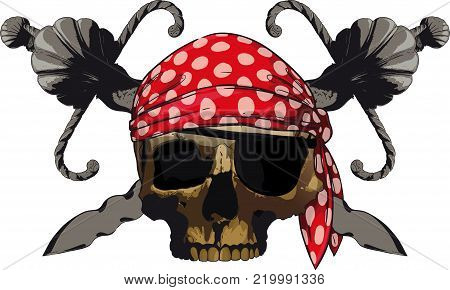 Pirate s emblem skull with two short, curved blades and red bandanna
