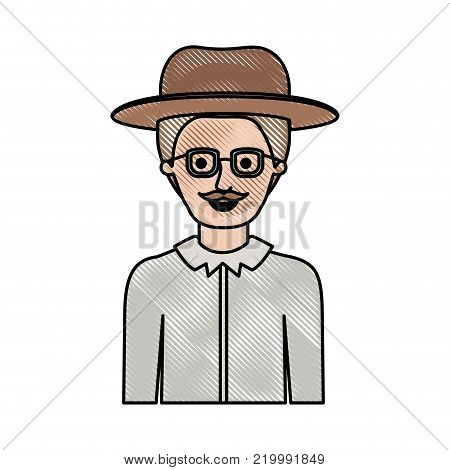 man half body with hat and glasses and shirt with short hair and moustache in colored crayon silhouette vector illustration