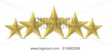 Five golden rating star. High premium quality, Vector illustration