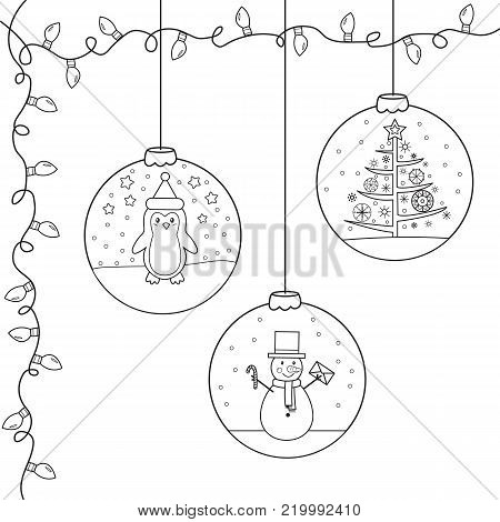 Coloring page,book for children. Christmas and New Year decorate for Christmas tree. Hand drawn. Vector illustration.