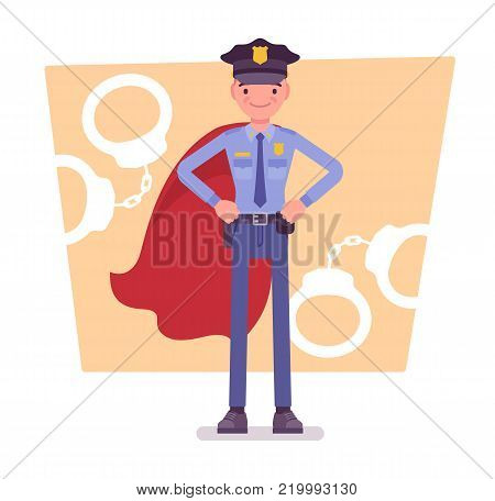 Super policeman at duty. Best trained, qualified officer, police superhero with superhuman powers to save city from crime. Vector flat style cartoon illustration isolated on white background