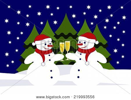 vector pair of snowmen with glasses of champagne in snowy landscape