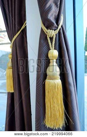 Colorful Curtains tassel for interior house. luxury decor.