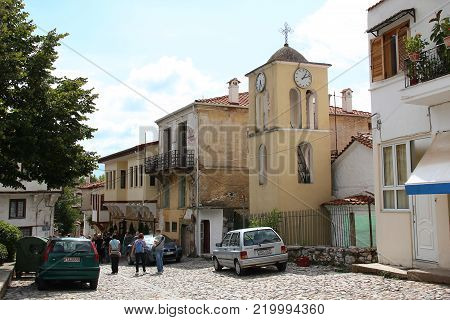 KASTORIA, GREECE - SEPTEMBER 17, 2012: It is one of the steep alleys in the old part of a small provincial town not in the north of the province of Macedonia.
