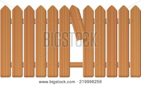 Gap in the fence - wooden textured picket fence with broken plank and loophole to slip through, escape, flee, take off, break free, slip away, sidle off - isolated vector illustration on white background.
