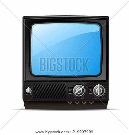 Retro tv set with blank screen  - vintage television, front view