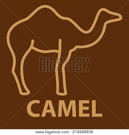 Camel icon in linear style. One humpback camel logo template. Vector illustration.
