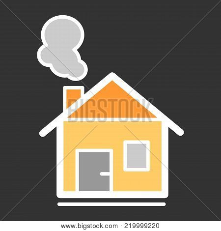 house with chimney vector line icon. House in winter. Christmas colorful house icon.