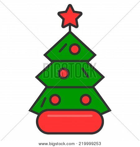 Dressed Christmass tree linear colorful icon. Christmass tree on white background. Vector eps10