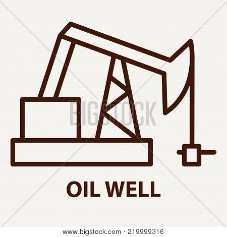 Oil well icon in linear style. Oil well logo template. Vector illustration.