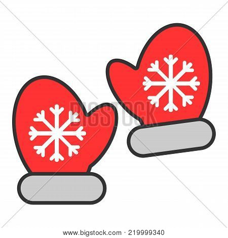 Mittens colorful icon vector line illustration. Pair of mittens with snowflake element. Christmas symbol. flat illustration.