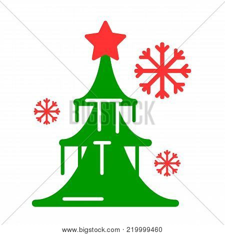 Dressed Christmass tree colorful linear icon. Black Christmass tree on white background. Vector eps10