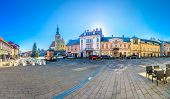 Colorful panorama in Samobor city center, small picturesque place in suburb of town Zagreb, Croatia. poster