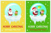 Merry Christmas and happy New Year, delighted Santa, and joyful elf jumping together, poster with titles and images set, vector illustration poster
