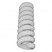 Wireframe low poly mesh tension helix spring. Vector illustration poster