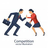 Competition concept. Business people. Conflict businessman woman. Symbol rivalry competition. Vector illustration flat design. Corporate conflict. Disagreements people. Disagreement confrontation. poster