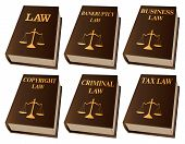 Law Books is an illustration of six law books used by lawyers and judges. They include books on law, bankruptcy law, business law, copyright law, criminal law, and tax law. Represents legal matters and legal proceedings. poster