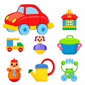 Big red car, toy house, car constructor, funny clown, colorful saucepan, roly-poly in tie, yellow watering can and frog beanbag vector illustrations. poster