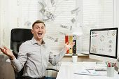 Shocked perplexed and stress business man in shirt sitting at the desk with mobile phone working at computer with modern monitor folders coffee documents in light office on window background poster