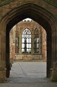 Wall of Coventry Old Cathedral Most of the Cathedral was destroyed during WW2 poster