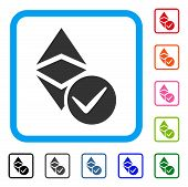 Valid Ethereum Classic icon. Flat gray pictogram symbol inside a blue rounded square. Black, gray, green, blue, red, orange color additional versions of Valid Ethereum Classic vector. poster