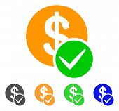 Valid Dollar Coin icon. Vector illustration style is a flat iconic valid dollar coin symbol with grey, green, blue, yellow color versions. Designed for web and software interfaces. poster