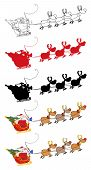 Santa Claus And Team Of Reindeer In His Sleigh Flying. Collection poster