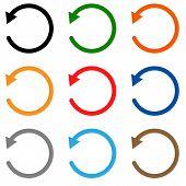 undo icon on white background. undo symbol. flat style. set undo colors icon. poster