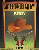 Cowboy wild west saloon bar entrance design template, antique guns and hat, bullet holes, wooden cowboy country saloon door. poster