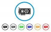 Video Accelerator Card rounded icon. Style is a flat grey symbol inside light blue circle with additional colored variants. Video Accelerator Card vector designed for web and software interfaces. poster