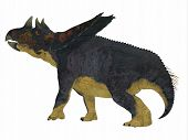 Chasmosaurus Dinosaur Tail 3D illustration - Chasmosaurus was a herbivorous ceratopsian dinosaur that lived in Alberta, Canada during the Cretaceous period. poster