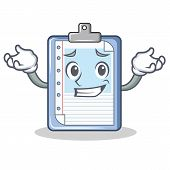 Grinning clipboard character cartoon style vector illustration poster