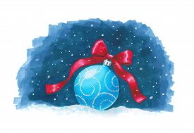 Sketch markers Christmas ball on blue background. Sketch done in alcohol markers. You can use for greeting cards posters and design projects.