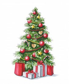 Sketch markers Christmas tree with gifts. Sketch done in alcohol markers. You can use for greeting cards posters and design projects.