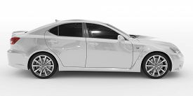car isolated on white - white paint, tinted glass - right side view - 3d rendering