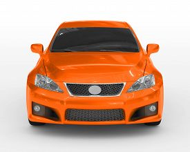 car isolated on white - orange paint, tinted glass - front view - 3d rendering