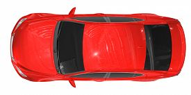 car isolated on white - red paint, tinted glass - top view - 3d rendering