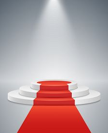 White podium and red road on a light background. The winner is in first place. Bright light from a spotlight. Light pedestal. Festive event. Vector illustration.