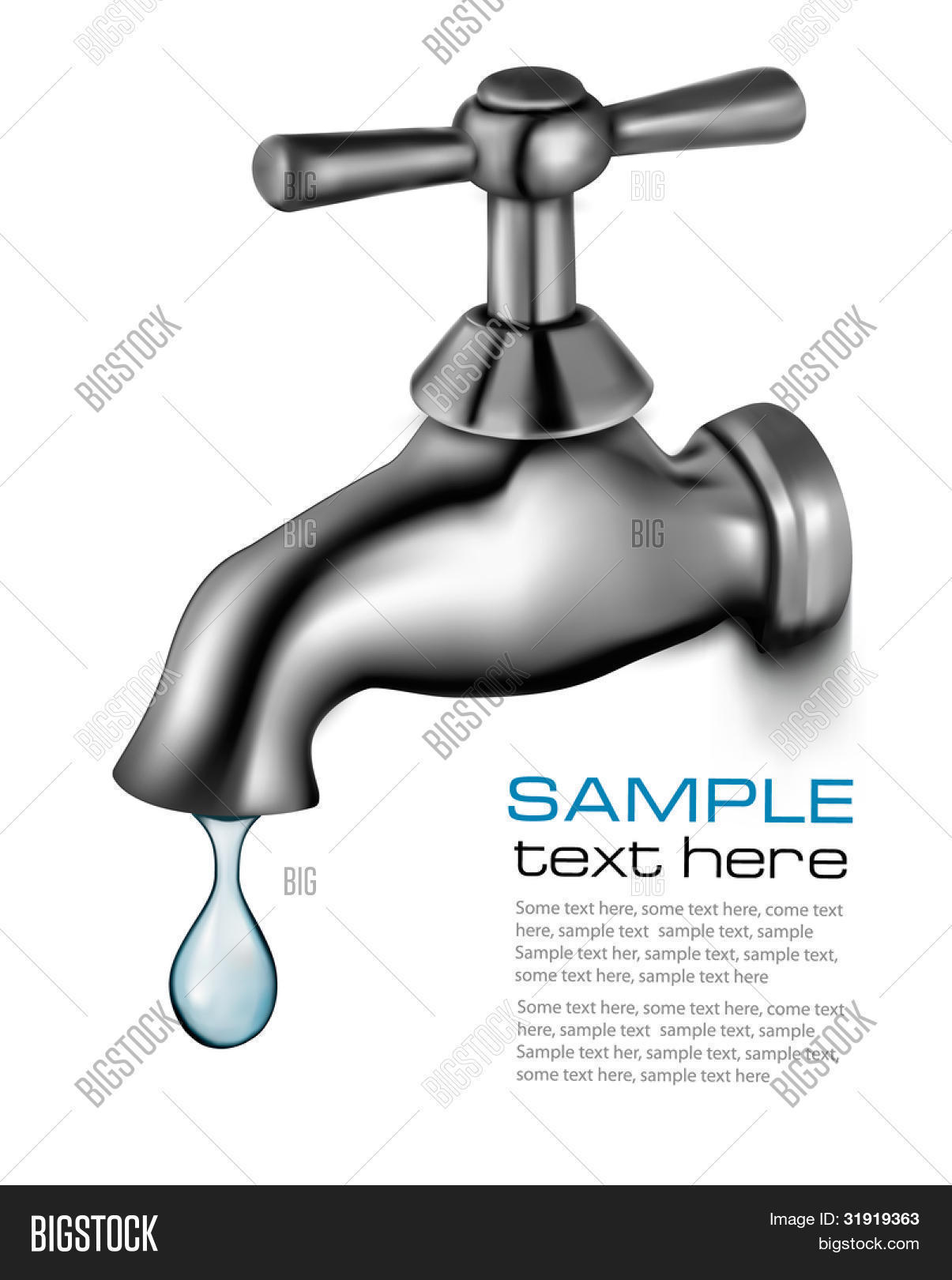 Water Tap Drop. Vector & Photo (Free Trial) | Bigstock