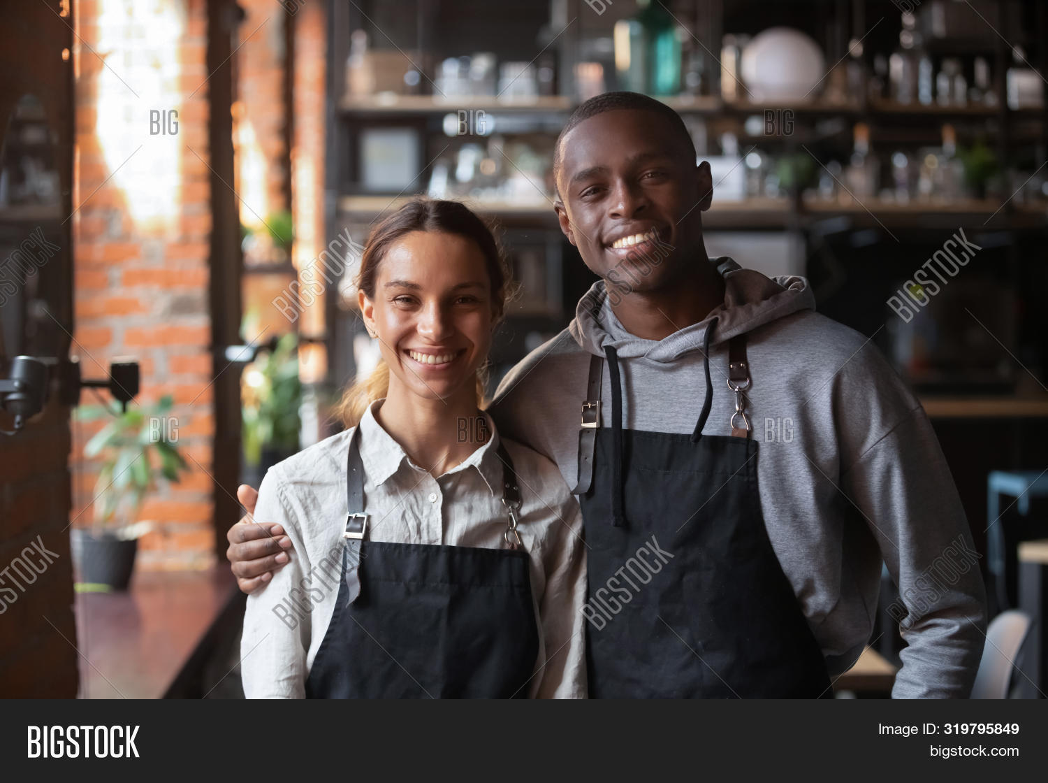 Happy Diverse Waiter Image Photo Free Trial Bigstock