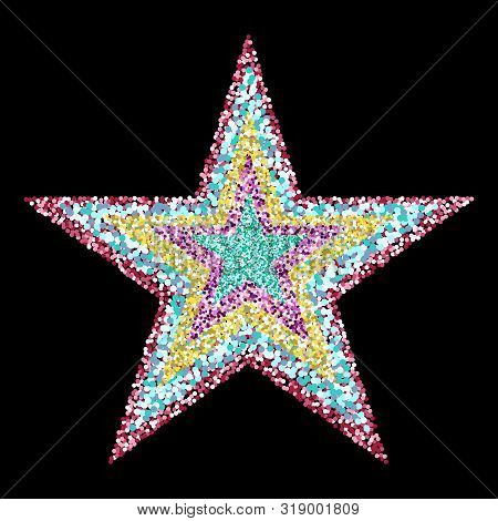 Flickering Colored Particles. Luxury Star Background. Eps 10