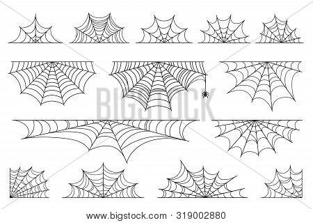 Set Of Spider Web For Halloween. Halloween Cobweb, Frames And Borders, Scary Elements For Decoration