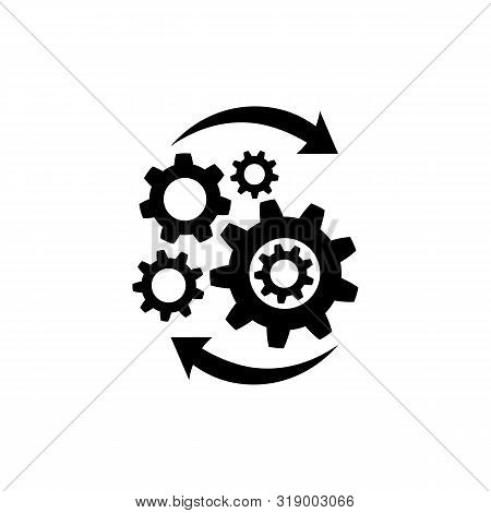 Operations Icon In Flat Style Isolated On White. Effective Process Symbol In Black For Your Web Site