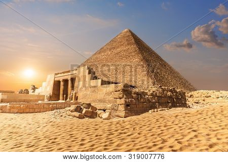 Mastaba Of Seshemnefer Iv And The Pyramid Of Cheops In Giza