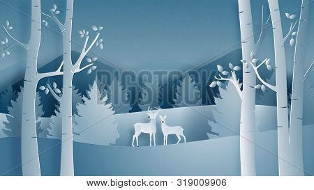 Deer Couple In Forest In Paper Cut Style. Winter Landscape With Snow Field In Christmas And Winter S