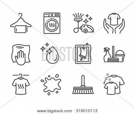Set Of Cleaning Icons, Such As Washing Cloth, Window Cleaning, Clean Towel, Household Service, Hold