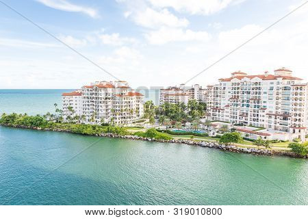 Miami, Usa - September 06, 2014 : Aerial Drone View Of Apartments In Fisher Island On September 06,